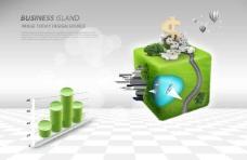 绿色立方体和柱状图