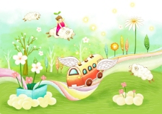 草地上的花朵绵羊和汽车