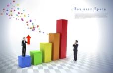 彩色柱状图和商务人物