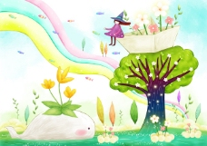 大树上的花盆和女孩
