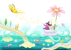 湖泊上的小船花朵和蝴蝶