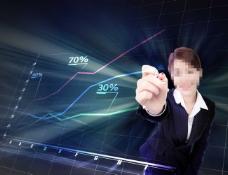 绘制统计图的商务女士