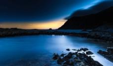 傍晚山水风景图片