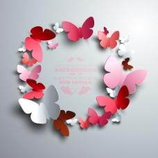 彩色蝴蝶剪纸背景