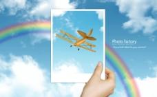 蓝天彩虹 风景图片