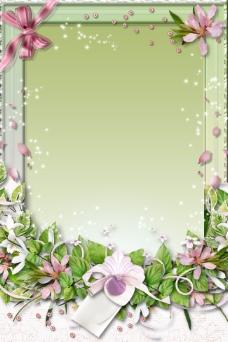 精致花卉镜框背景图psd源文件