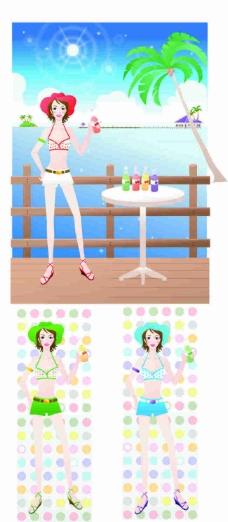 同款美女三色泳衣海边卡通矢量图