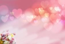 心形浪漫背景  玫瑰花