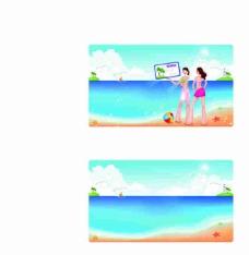 海边两少女卡通矢量图