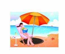 海边少女晒太阳卡通矢量图