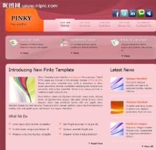 粉色商务网页模板图片