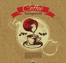 手绘咖啡背景图片