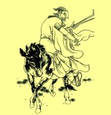張果老倒騎驢圖片