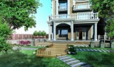 别墅外观花园效果图图片