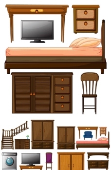 家具电器矢量分层素材