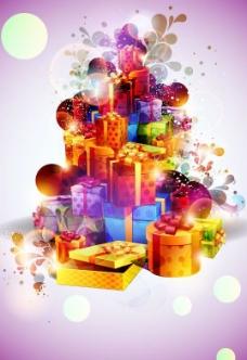 礼物盒炫彩背景图片
