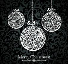 欧式花纹圣诞球图片