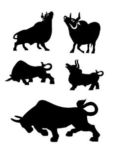 牛剪影图片