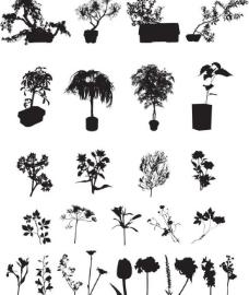 盆花剪影图片