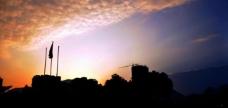 夕阳 剪影图片