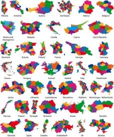 欧洲各国地图矢量素材