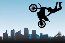 摩托车运动剪影矢量素材图片