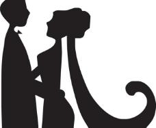 男女结婚矢量剪影图图片