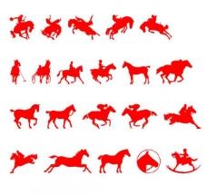 一组骏马剪影图片