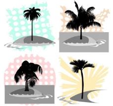夏日椰子树剪影图片