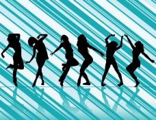 活力舞蹈女孩剪影 蓝色线条背景图片