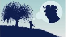 大树下的情侣剪影矢量素材图片