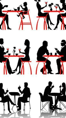 喝咖啡的人物剪影矢量素材图片