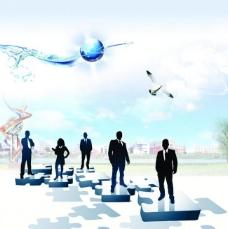 海报 人物剪影 地球 蓝色天空图片