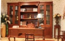 实木组合书柜图片