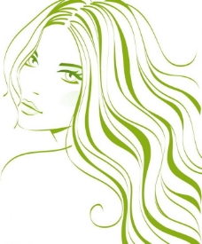绿色线条时尚美女头像图片