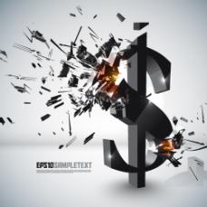 破碎美元符号