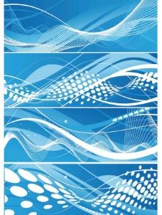 蓝色动感曲线背景 横幅图片