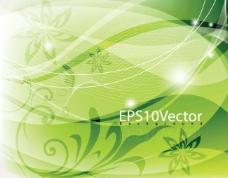 绿色动感曲线 花纹 花朵 底纹图片