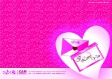 粉紅桃心背景圖片