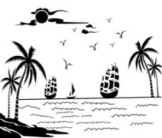 椰子 帆船图片