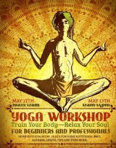 瑜伽训练 复古印度人图片