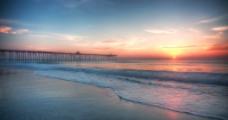码头落日景色图片