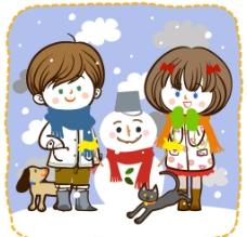 堆雪人的男孩女孩图片