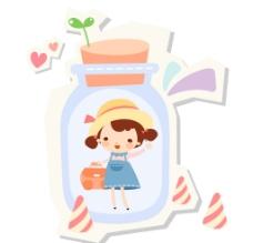 玻璃瓶中的小女孩图片