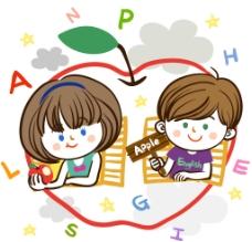 表述苹果英文的孩子图片