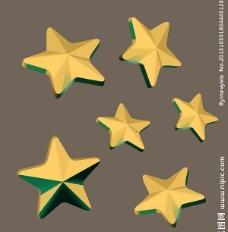 立体金色五角星标签图片
