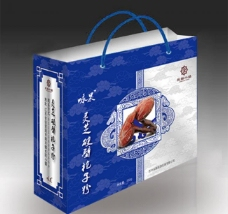青花瓷手提袋(展开图)图片