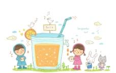 与动物分享果汁的孩子图片