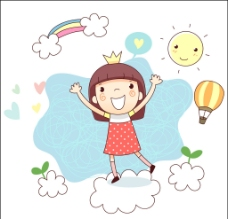 站在云上欢呼的女孩图片