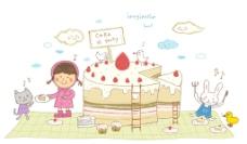 与动物分享蛋糕的女孩图片